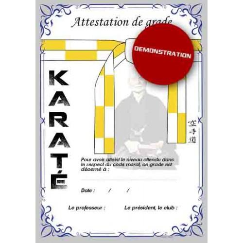 Attestation ceinture blanche jaune