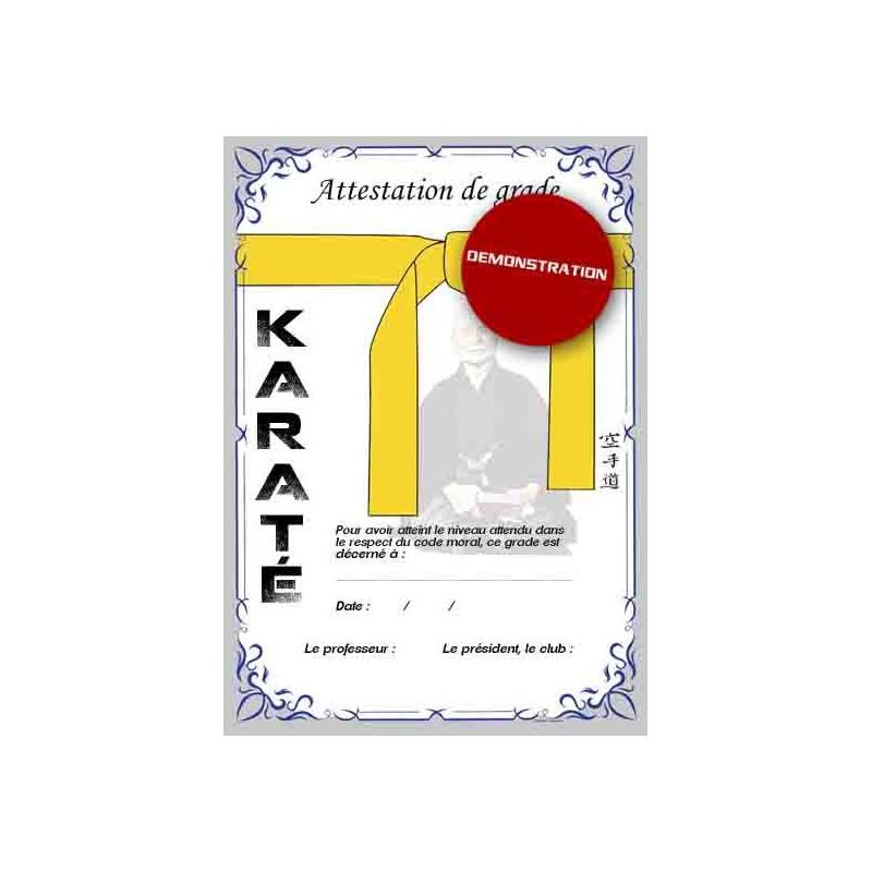 Attestation ceinture jaune