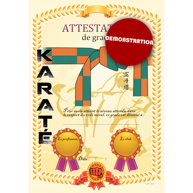 Attestation ceinture orange verte