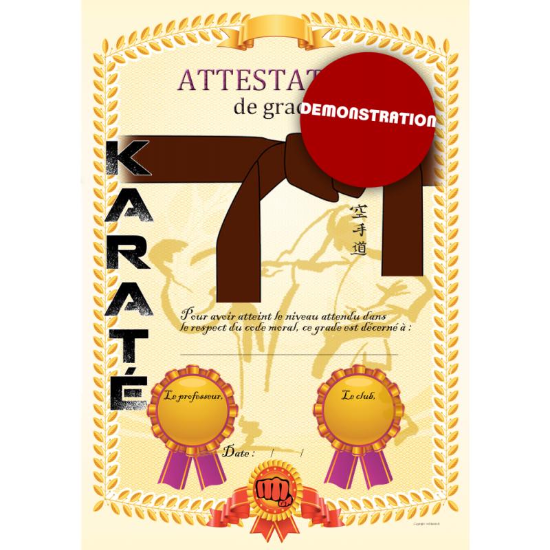 Certificado de cinturón marrón