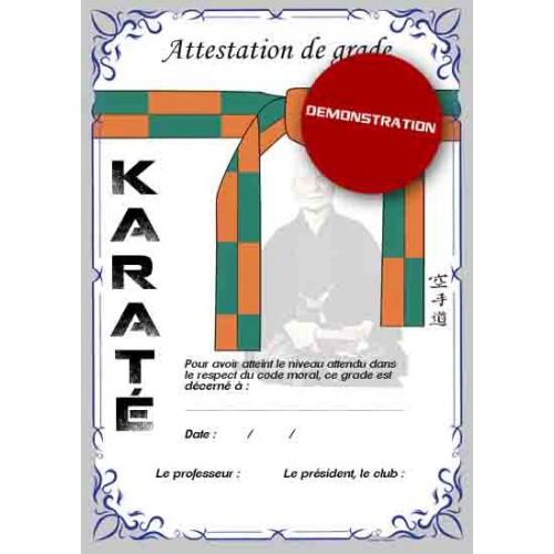 Attestation ceinture orange verte