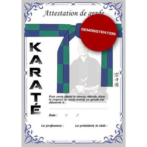 Attestation ceinture verte bleue
